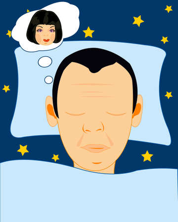 Head sleeping men on pillow and girl appears in the dreams