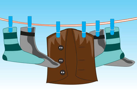 Vector illustration of the clean linen drying on rope on background sky
