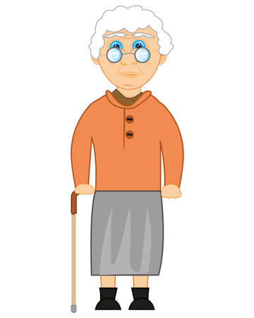 Grandmother bespectacled and with walking stick in hand