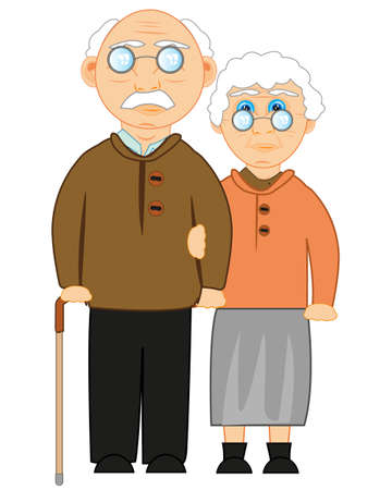 Vector illustration of the grandparent and old womans