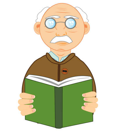 Man of the elderly age with book in hand on white