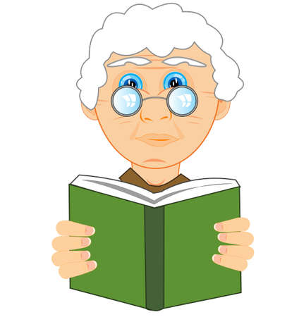 Grandmother bespectacled reads book on white background is insulated 일러스트