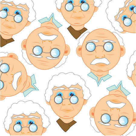 Persons of the elderly people decorative pattern 일러스트