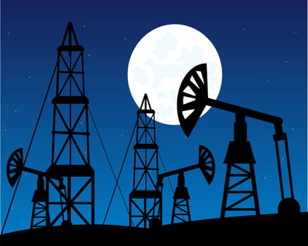 Mining to oils in desert night landscape