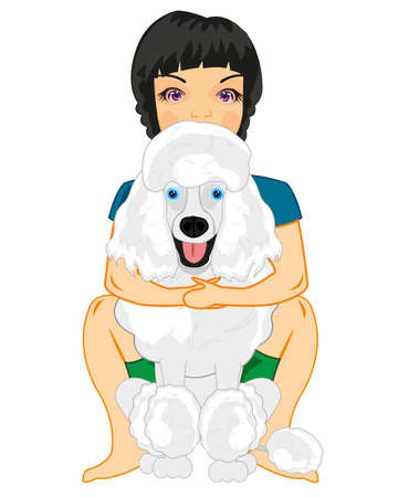 Girl teenager with its loved dog by poodle