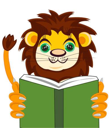 Cartoon of the wildlife lion reading interesting book 일러스트