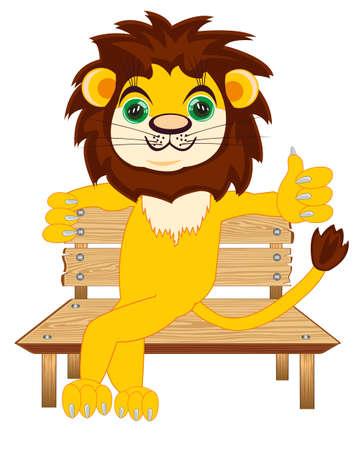 Cartoon animal lion sitting on wooden bench 일러스트