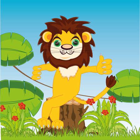 Cartoon animal lion in jungle sitting on stump 일러스트