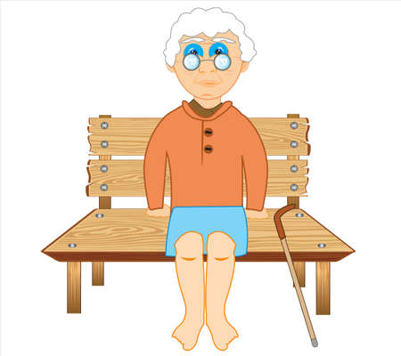 Elderly woman with walking stick sits on bench