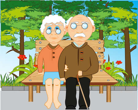 Elderly man and woman sit on bench by summer in park 일러스트