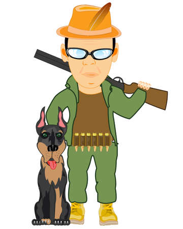 Cartoon of the huntsman with dog and weapon