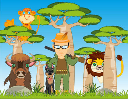 Huntsman with dog and wild animals in Africa