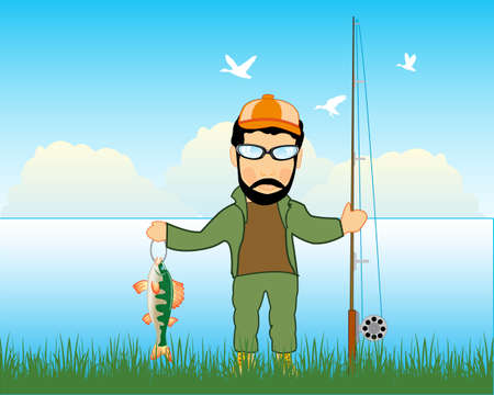 Fisherman on river with catch and fishing rod