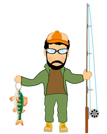 Fisherman with caughted by fish and fishing rod