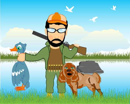 Huntsman on weft beside lake with dog 일러스트