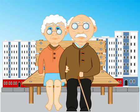 Elderly people sit on bench in city