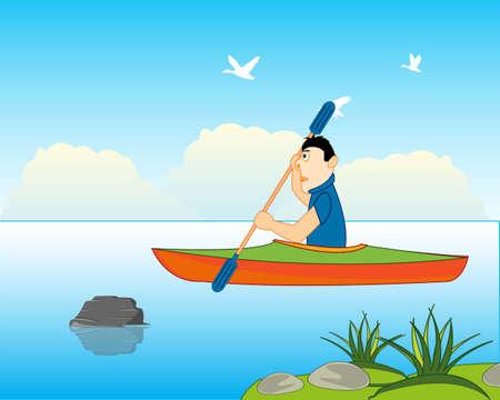Man athlete sails on kayak on river 일러스트