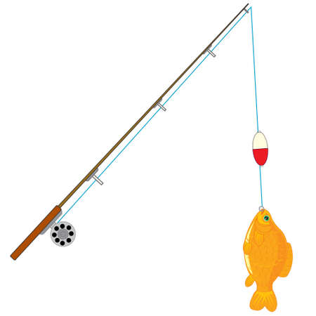 Fishing rod with caughted by fish on hook