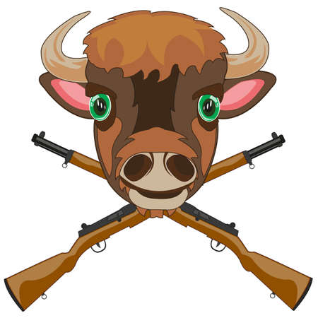 Symbol of the hunt head bison and weapon