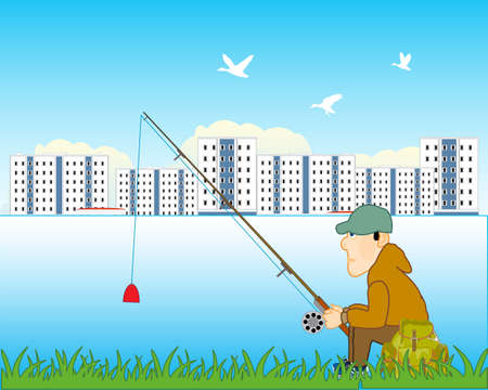 Fisherman on stream with fishing rod for city