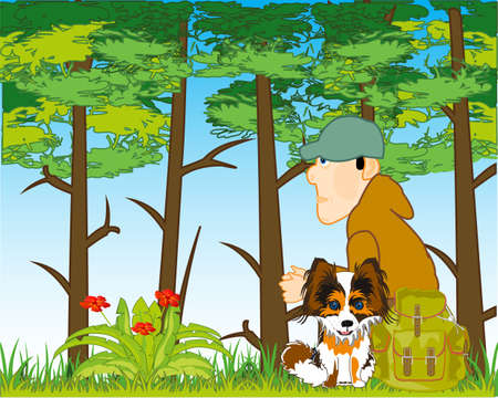 Man with dog in wood by summer