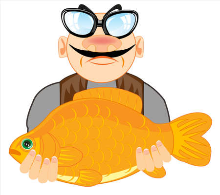 Drawing men with big fish in hand