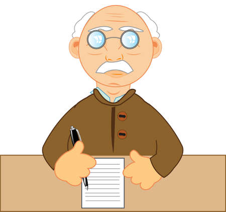 Elderly man writes letter by fountain-pen on paper