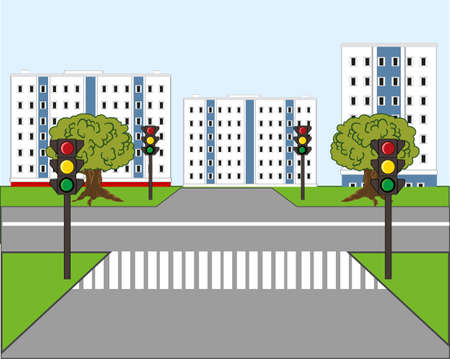 Road sectoring and traffic lights in city 일러스트