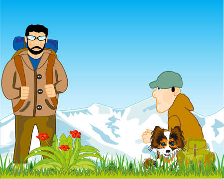 Two tourists and dog repose on nature