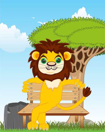 Cartoon animal lion sitting on bench on nature 일러스트