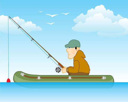 Fisherman on river in rubber boat goes fishing
