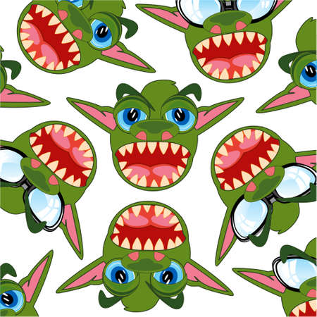 Cartoon of the head of the toothy crock decorative pattern