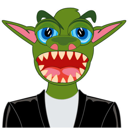Portrait of the green crock in suit 일러스트