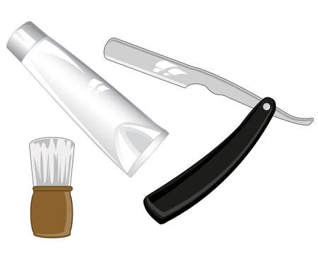 Accesories for shaving on white background is insulated