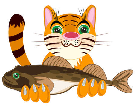 Pets animal cat with big fish in paw