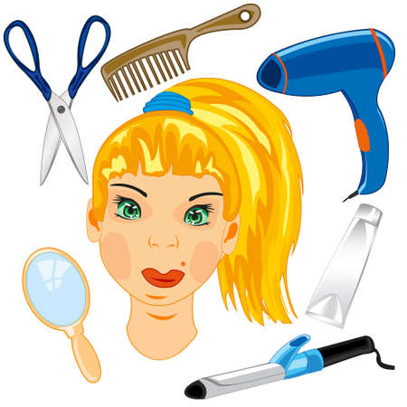 Person of the girl and tools care for hair Stockfoto - 156550820
