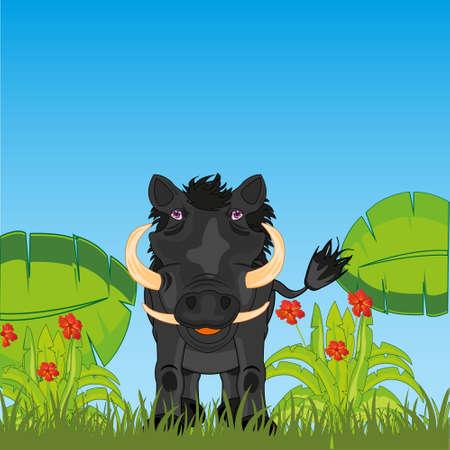 Ungulate animal wart hog in african jungle 向量圖像