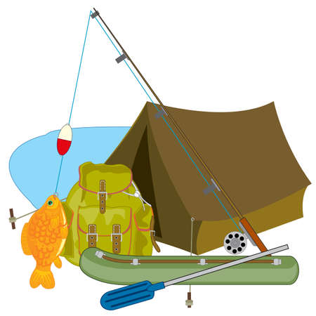 Subjects for fishing fishing rod and tent with rucksack Ilustração Vetorial