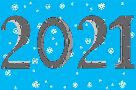 Holiday new year numerals 2021 on background snowflake