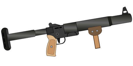 Weapon manual grenade launcher on white background is insulated
