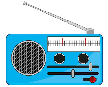 Portable radio on white background is insulated