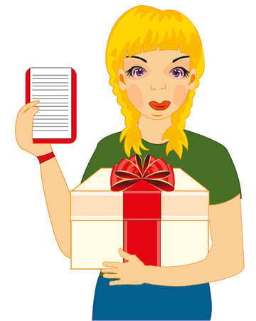 Woman courier with gift on white background is insulated