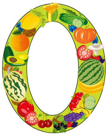 Zero in the manner of fruit and vegetables Illustration