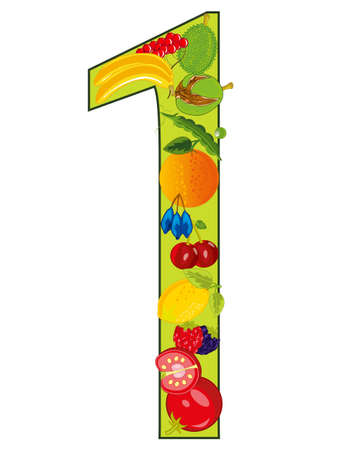 Decorative numeral one with fruit and vegetable