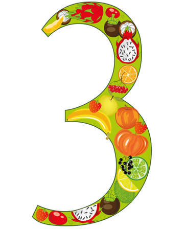 Decorative numeral three from fruit and berries Illustration