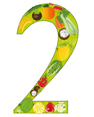 Numeral two decorative from fruit and vegetables