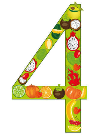 Numeral four fruits on white background is insulated
