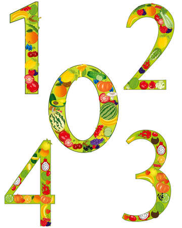 Numerals from fruit on white background is insulated