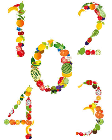 Fruits and vegetables of the number on white background is insulated