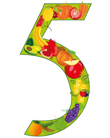 Numeral five from fruit on white background is insulated